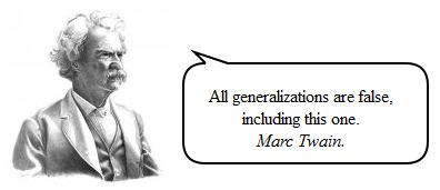 Mark Twain against generalization, quote in speech bubble.