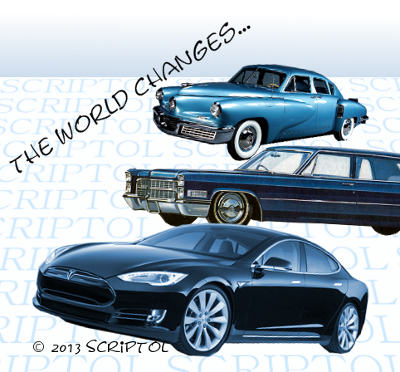Evolution of Sedan cars: Tucker, Cadillac, Tesla to illustrate moving from PHP to JavaScript