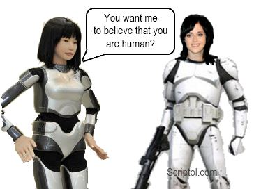 Chatbot robot speaking to a woman