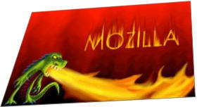 Logo of a (green) dragon spitting fire